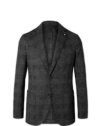 Lardini Grey Slim Fit Unstructured Prince Of Wales Checked Wool And Cotton Blend Blazer