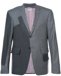 Thom Browne Pattern Patchwork Single Breasted Sport Coat In Grey Super 120s Twill