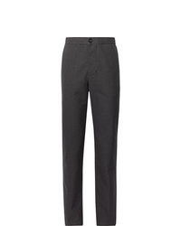 Oliver Spencer Charcoal Puppytooth Cotton And Wool Blend Trousers