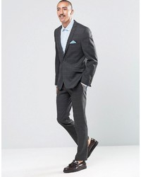Ben Sherman Camden Super Skinny Suit Pants In Charcoal Overcheck