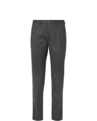 Incotex Charcoal Slim Fit Wool Blend Flannel Trousers