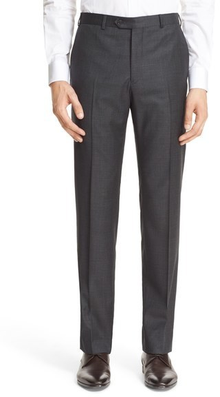 Armani Collezioni G Line Trim Fit Flat Front Solid Wool Trousers