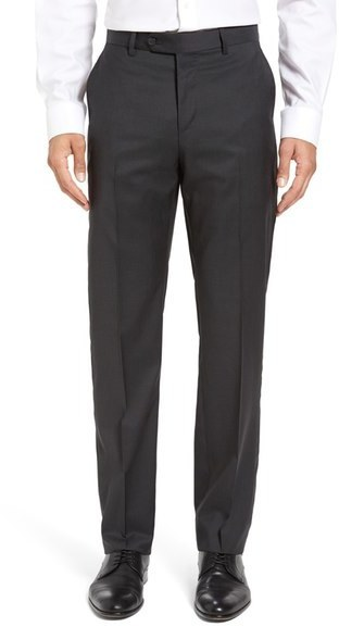 John W Nordstrom Flat Front Solid Wool Trousers