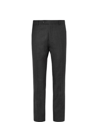 Mr P. Slim Fit Grey Worsted Wool Trousers
