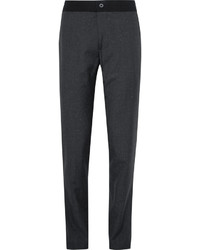 Lanvin Slim Fit Puppytooth Slub Wool And Silk Blend Trousers