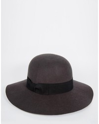 Asos Brand Beekeeper Hat In Gray Felt With Wide Brim