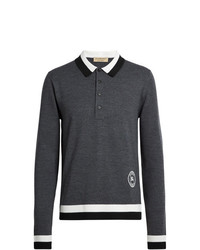 Burberry Stripe Detail Merino Wool Long Sleeve Polo Shirt