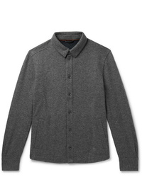 Loro Piana Suede Trimmed Mlange Cashmere Blend Overshirt