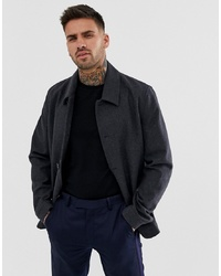 ASOS DESIGN Wool Mix Button Through Jacket In Charcoal