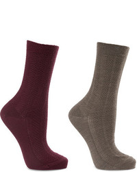 Falke Set Of Two Armour Textured Wool Blend Socks Gray