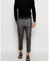 Asos Brand Skinny Cropped Suit Pants With Faux Leather Trim