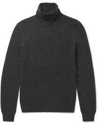 Saint Laurent Distressed Wool And Cashmere Blend Rollneck Sweater