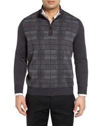 Quarter zip check wool sweater medium 1024913