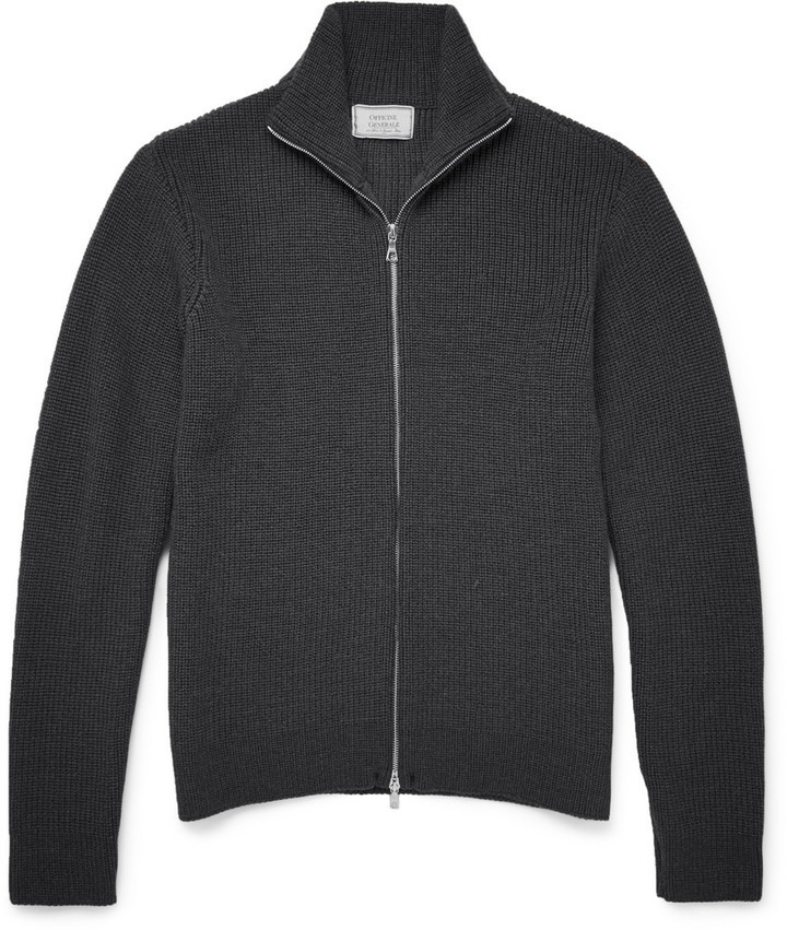 Officine Generale Zip Up Merino Wool Sweater | Where to buy & how ...