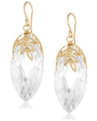 Devon Leigh Clear Gold Plated And Cubic Zirconia Leaf Cap Drop Earrings