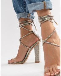 SIMMI Shoes Simmi London Karla Multi Snake Clear Detail Embellished Heel Tie Up Sandals
