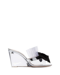Miu Miu Clear And Black Bow 85 Pvc Mules