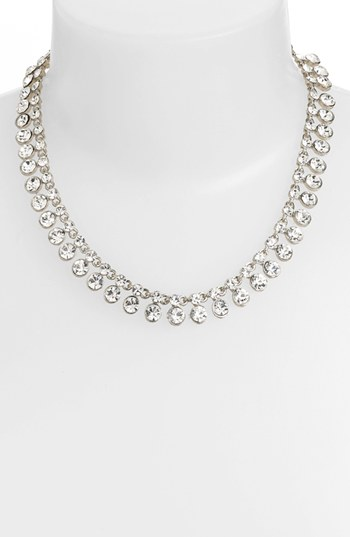 Nina Theda Crystal Fringe Collar Necklace Silver Clear
