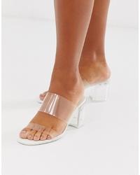 Bershka Clear Mid Heel Sandals In White