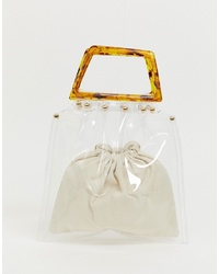PrettyLittleThing Bag With Tortoiseshell Handle In Clear
