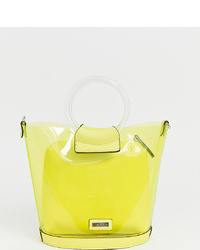 Aldo Miroang Neon Yellow Clear Tote Bag With