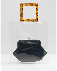 ASOS DESIGN Plastic Tort Grab Handle Bag With Frame Clutch Inner