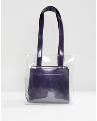 ASOS DESIGN Two In One Plastic Grab Handle Bag With Removable Metallic Shopper