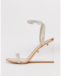 SIMMI Shoes Simmi London Sammy Black Diamante Clear Wedge Sandals