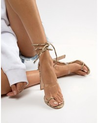 54a92a73e52 Clear Leather Heeled Sandals for Women | Women's Fashion | Lookastic UK