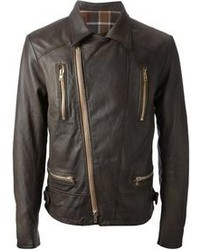 Dark brown biker jacket original 8635197