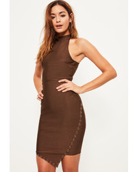 Missguided Brown Bandage Ring Detail Asymmetric Bodycon Dress