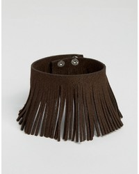 Asos Brand Fringed Bracelet In Brown