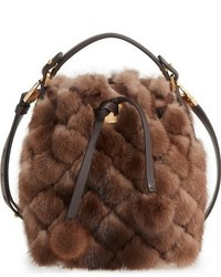 Michael Kors Michl Kors Extra Small Miranda Genuine Mink Fur Bucket Bag Brown