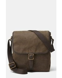 Dark Brown Canvas Messenger Bag