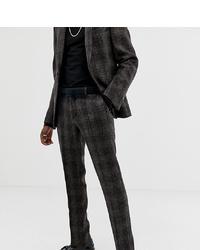 Heart & Dagger Slim Suit Trouser In Brown Harris Tweed