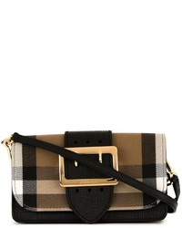 Dark Brown Check Leather Crossbody Bag