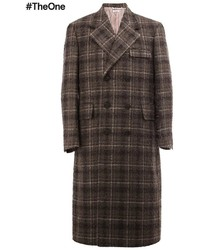Dark Brown Check Overcoat