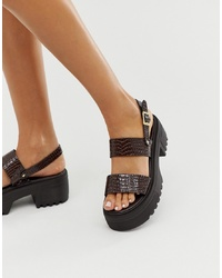 ASOS DESIGN Finalist Chunky Flat Sandals In Burgundy Patent Croc