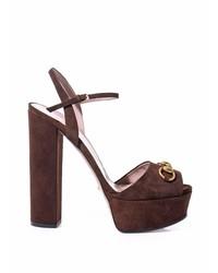 Gucci Claudine Suede Horsebit Sandals