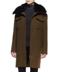 Theory Yvoia Bolton Coat Wfur Trim Army