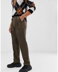 ASOS DESIGN High Waist Wool Mix Trouser With Wide Leg And Stripe In Brown
