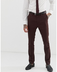 New Look Skinny Fit Suit Trousers In Burgundy
