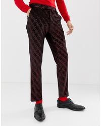 ASOS DESIGN Super Skinny Suit Trousers In Velvet With Red Glitter Design