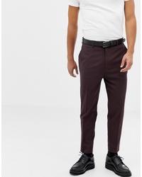 ASOS DESIGN Tapered Suit Trousers In Dark Brown