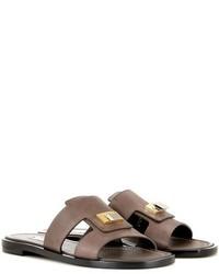 Dark Brown Embellished Leather Flat Sandals