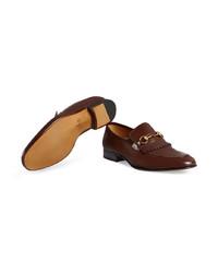 3adc7d7bcea ... Gucci Leather Fringe Horsebit Loafers ...