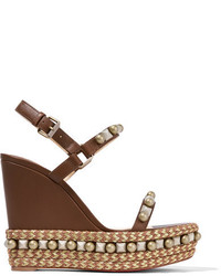 Cataconico 120 embellished leather wedge sandals brown medium 1152420