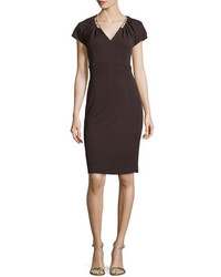 Dark Brown Embellished Sheath Dress