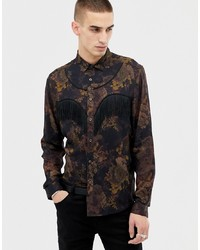ASOS Edition Floral Western Shirt With Fringing Detail