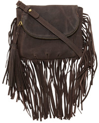 Dark Brown Fringe Leather Crossbody Bag